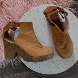 Free People Amber Orchard Clogs in Tan Wood Heel